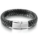 Aooaz Echtes Leder Armbands Für Männer Silber Schwarz Hochzeit Armbands Gothic Armreifen Kostenlose Gravur Herren