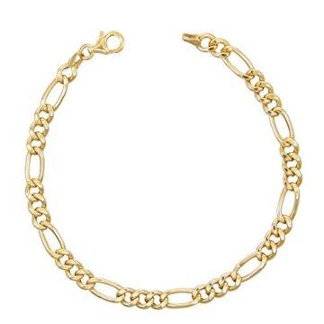 Armband, Figarokette, alternierend 3+1, Gelbgold, Herren