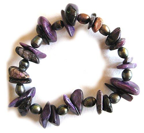 Armband Splitter Sugilith natur 15 mm Perle Süßwasserzuchtperle grau gefärbt 8 mm
