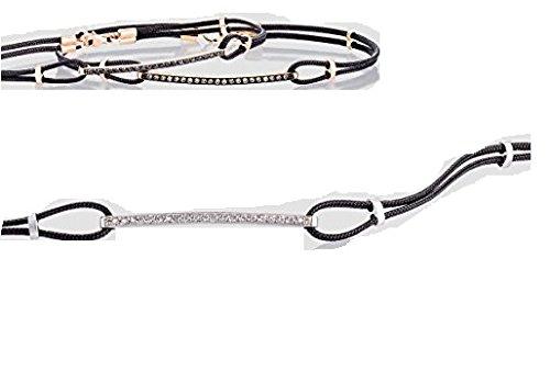 Armband Tennis Nardelli Herren, Weißgold 18kt und natürlichen Diamanten 0,09kt-Erste Qualität, montiert mit Kordel schwarz