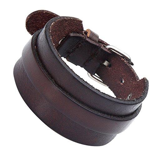 Atemberaubende verstellbar Dunkelbraun Manschette Leder Armband für Männer (Metall Schnalle Schließe)