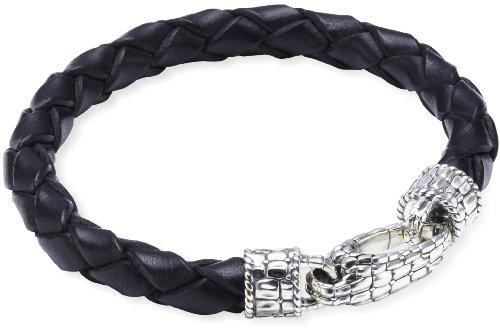 Baldessarini Herren-Armband Lederband schwarz 925 Sterlingsilber vintage-oxidized
