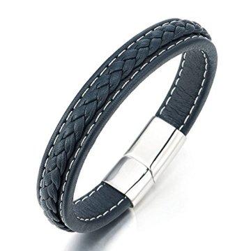 Blau Geflochtenes Lederarmband Herren Damen Armband Echtes Leder Armreif mit Edelstahl Verschluss