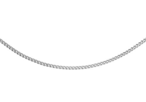 Carissima Gold 18ct White Gold Diamond Cut Curb Adjustable Chain of 46cm/18″
