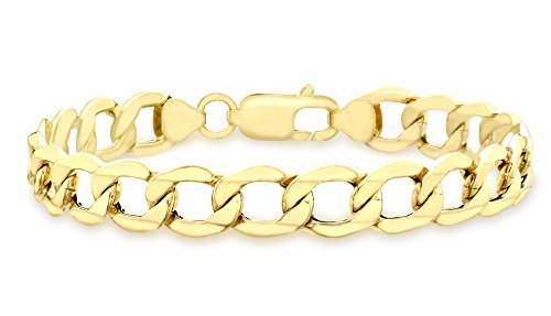 Carissima Gold Damen-Armband 9ct Yellow Hollow Curb Bracelet 18.5cm/7.25 375 Gelbgold-1.23.4851