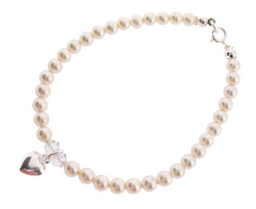 Chic A Boo Armband mit Herz-Anhänger Sterlingsilber Swarovski-Kristall cremefarbene Perlen Länge 17cm