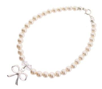 Chic A Boo Armband mit Schleifen-Anhänger Sterlingsilber 925 Swarovski-Kristall cremefarbene Perlen Länge 17cm