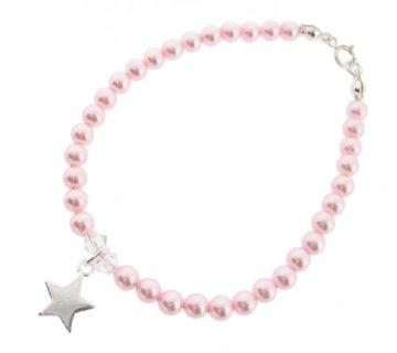 Chic A Boo Swarovski Kristall Perle Rosa und Stern Sterling Silber Armband 17 cm