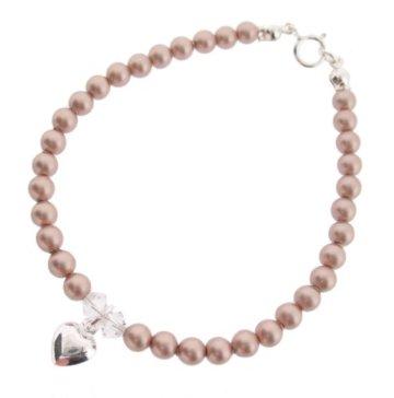 Chic A Boo, Swarovski-Kristalle, große Perle Sterling Silber Armband 17 cm
