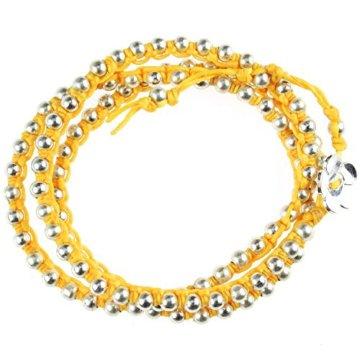 Chic-Net Brass Armband Kette gelb Messing Perlen silber Baumwolle gewachst Blume nickelfrei Armbänder