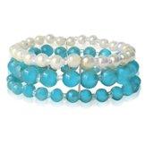 Chic-Net Glasperlen Armband türkis weiß gold dreilagig Perlen Gummiband verstellbar Perlenarmbänder