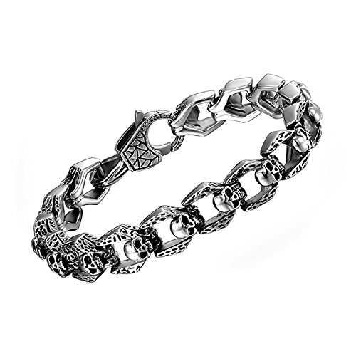 Coolman Armband für Herren Gothic Punk Edelstahl Link 8,5 Zoll Silber Farbe Hoch Poliert Armband