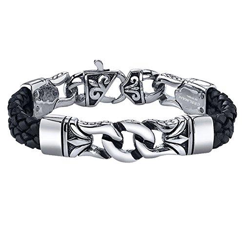 Coolman Herren Leder Armband Schwarzes u. Silbernes Stulpe Armband Wristband für Männer(Mit hochwertiger Schmuck schatulle)