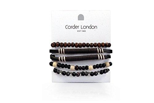 Corder London Set mit Surfer-Armbändern für Herren/Jungen, Leder, geflochten, verstellbare Kordel, Orange / Braun / Blau