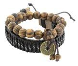 Die Jewelbox Biker ID Holz Perlen Leder schwarz braun gratis Größe Adjustbale Armband für Jungen Herren
