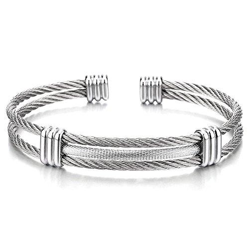 Edelstahl Elastische Herren Damen Armband Verstellbare Stahlkabel Armreif Farbe Silber