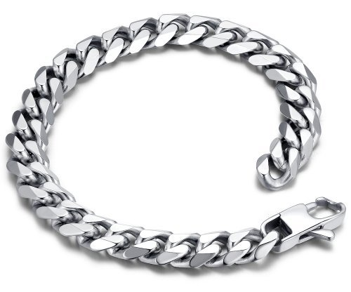 Edelstahl Herren poliert Panzerkette Armband 23cm (Farbe Silber) – G6024y1