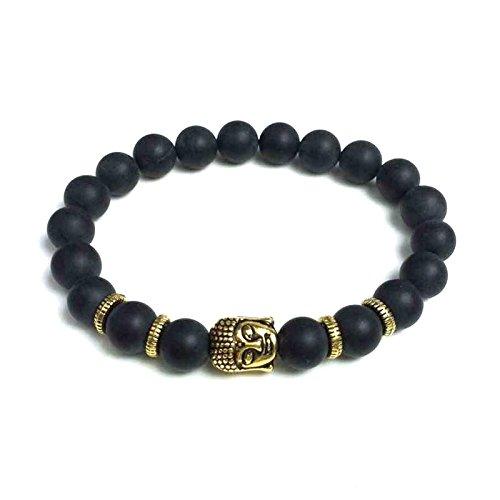 Edles Naturstein Armband mit vergoldetem Buddhakopf und matten Onyx Perlen