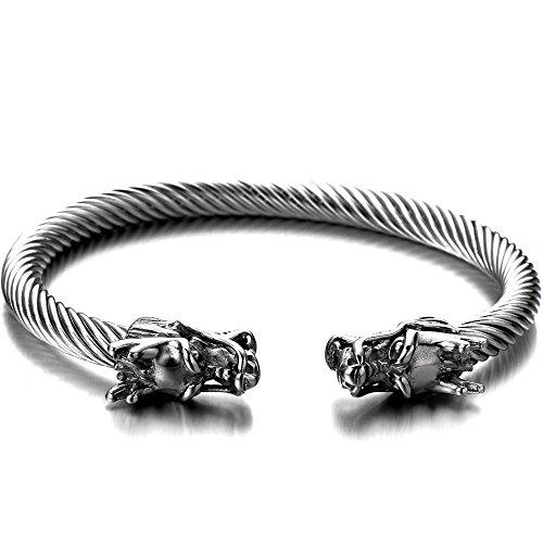 Elastische Verstellbare-Einzigartiges Design Drachen Herren Armband Edelstahl Verdrehten Stahlkabel Armreif