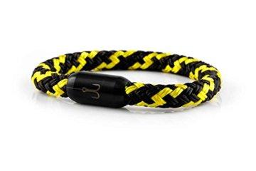 """FISCHERS FRITZE® Segeltau Armband """"TORPEDOMAKRELE 2.0"""" schwarz gelb"""