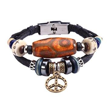 Fee Paar Double Strähnen weiß Perlen eingraviertem Symbol of Peace baumeln Kunstleder Armband L249