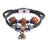 Fee Paar Retro Doppelt Strähnen Unisex Holz Perlen-Fleur De Lis Anhänger Armband L264