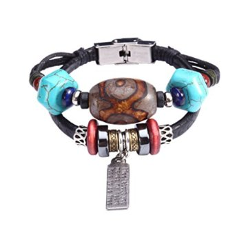 Fee Paar Retro Doppelt gemustert Strähnen Bead blau Steinen Gravur Anhänger Kunstleder Armband L261