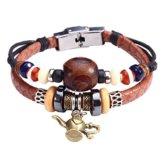 Fee Paar Retro Double Strähnen Holz & Opal Perlen Aladdin-Lampe Anhänger-Armband L248