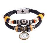 Fee Paar Retro Double Strähnen schwarz & weiß gemustert Bead Uhr Anhänger-Armband L263