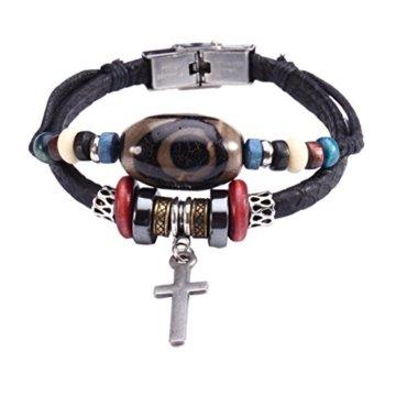 Fee Paar Zen Double Strähnen Beads Anhänger Kreuz Kunstleder Armband L269