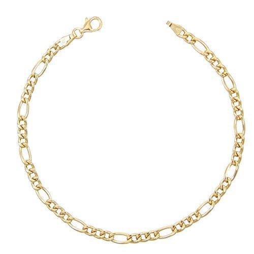 Figaroarmband alternée 1+ 3–echtes Gold Gelb