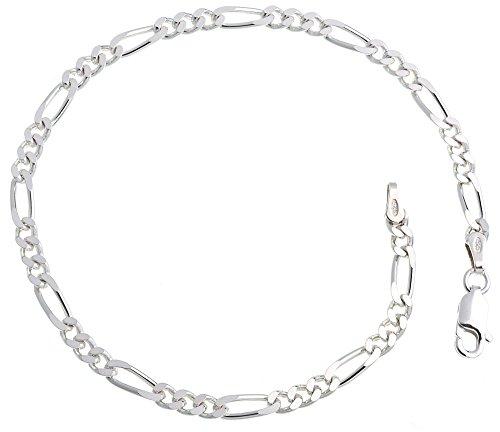 Figarokette Armband 3,4mm Breite – Länge wählbar 16-25cm – echt 925 Silber