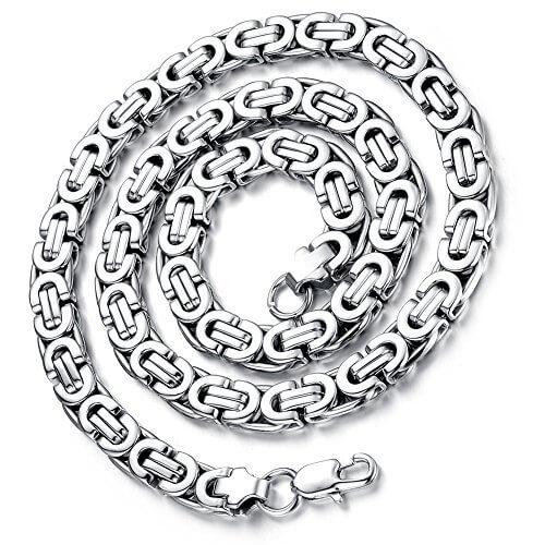 Flongo 9mm Breit Edelstahl Halskette Königskette Kette Silber 57cm Herrschsüchtig Rau Punk Rock Herren