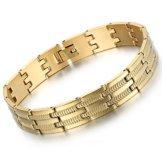 Flongo Edelstahl Armband Armreif Link Handgelenk Silber Gold Schlange Knochen Muster Streifen Einfarbig Charm Herren