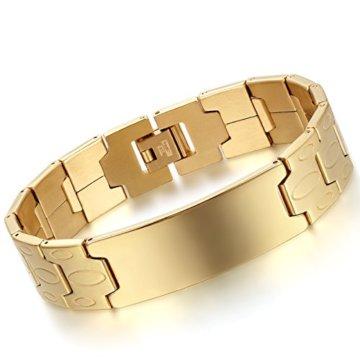 Flongo Gro?Breit Edelstahl Armband Armreif Link Handgelenk Silber Gold Glänzend Polisched Charme Herren