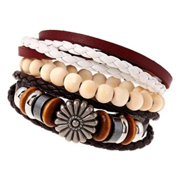 Gazechimp 3 Stück Unisex Holz Perlen PU Leder Geflochtene Armreif Armband Geschenk
