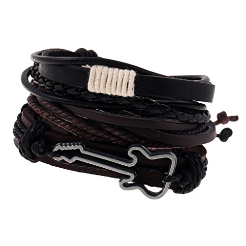 Gazechimp Unisex PU Leder Armband Flechtarmband verstellbar Band Mode Schmuck – Mehrfarbig