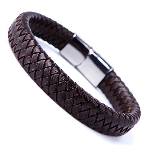 Geflochtenes Armband, Herren, Leder, mit eleganter Schließe aus 316L Edelstahl, Dunkelbraun