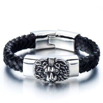 Geflochtenes Leder-Armband für Herren mit Edelstahl Löwe und Schwarz Echtes Leder Biker Armband