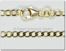 Gold Flachpanzerkette 2,6mm, 19 cm (Armband)