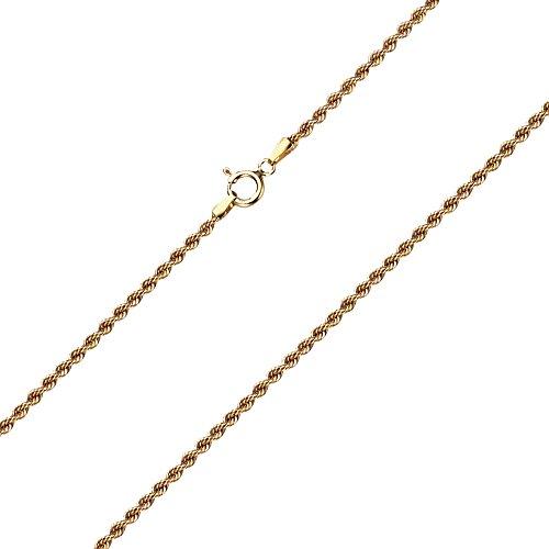 Goldarmband Kordelkette hohl aus Gelbgold 585 / 14 Karat, Breite 2.1 mm, mit Federring, die Länge ist frei wählbar. NEU