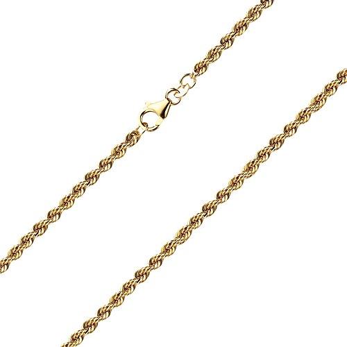Goldarmband Kordelkette hohl aus Gelbgold 585 / 14 Karat, Breite 3.3 mm, mit Karabinerverschluss, die Länge ist frei wählbar. NEU