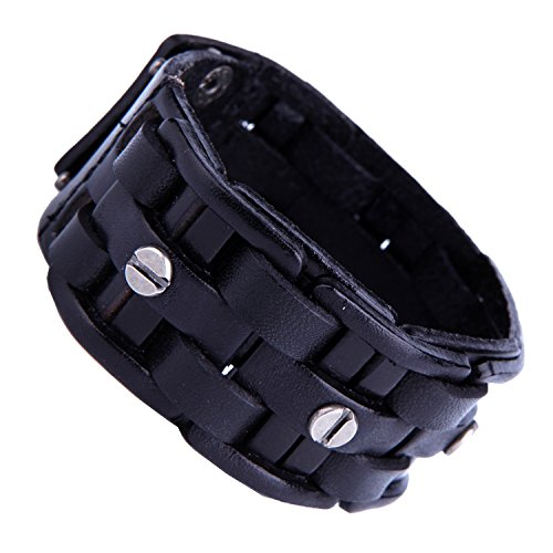 Gothic Herren Army Style Kohle Schwarz Manschette Echt Leder Armband mit Metall silber Ton Schrauben