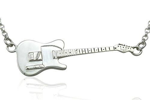 Groß Sterling Silber Rick Parfitt Tribute Fender Telecaster E-Gitarre Anhänger & Halskette 925