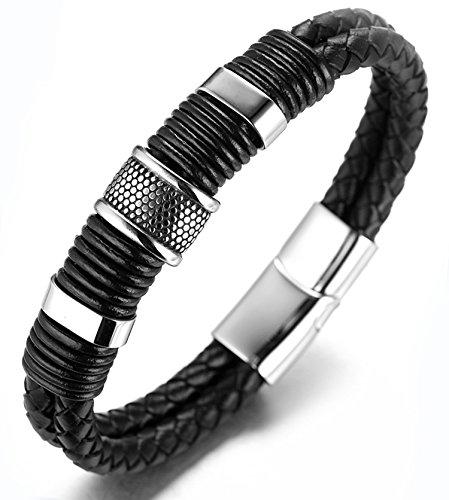 """Halukakah """"EHRE"""" Herren Echt-Leder Armband Schwarz mit Titan Perlen Gold&Silber 8.46″(21.5cm) Magnetisch mit Kostenlosem Geschenkbox"""