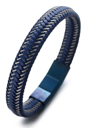 """Halukakah """"JAZZ"""" Herren Reines Leder Armband Titan Magnetverschluss Größe einstellbar 8,2 """"-8,7"""" (21-22cm) mit Kostenloser Geschenkpackung"""