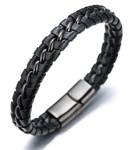 """Halukakah """"NACHTWACHE"""" Männliches Armband aus echtem Leder, Titanium-Verschluss mit Magneten, Pistolenschwarz 8,46 """"/21,5cm mitKOSTENLOSER Geschenkpackung"""