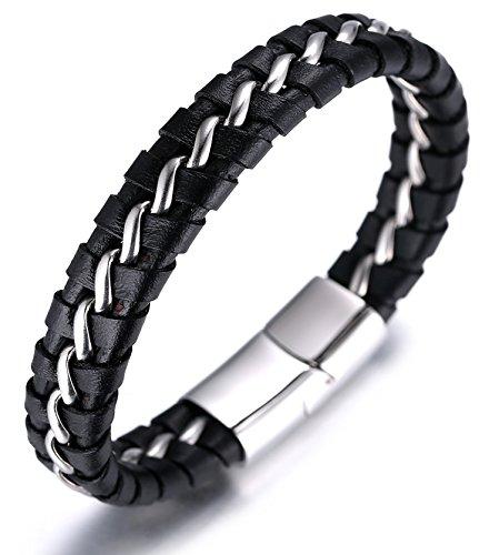 """Halukakah """"SOLO"""" Männliches Armband aus echtem Leder,Titanium Armband Schwarz & Silber 8,46 """"(21,5cm) mit KOSTENLOSER Geschenkpackung"""
