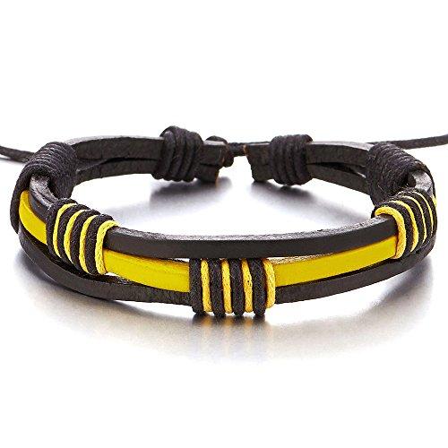 Handarbeit Geflochtenem Leder-Armband für Herren für Jungen für Damen Gelb und Schwarz Echtes Leder Wickeln Schweißband