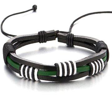 Handarbeit Geflochtenem Leder-Armband für Herren für Jungen für Damen, Grün Weiß Echtes Leder Wickeln Schweißband